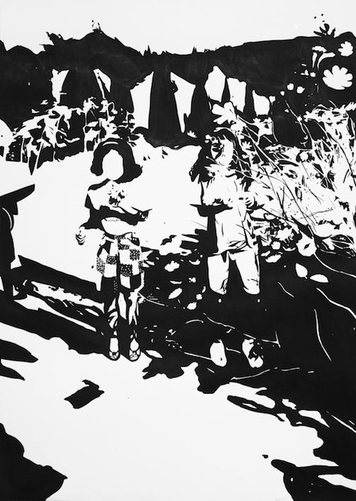 Saison des cosmos, 2016, encre de Chine sur papier, 70 x 50 cm